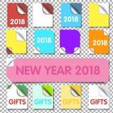 Set realistyczni kolorowi papierów kąty odizolowywający na białym tle Skarbikowany białego papieru kąt dla ulotki Obrazy Stock