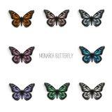 Set realistyczni monarchiczni motyle w różnych kolorach Zdjęcie Stock