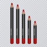 Set realistyczni warga ołówki na przejrzystym tle, wargi jaskrawy czerwony kolor liniowowie, wektorowa ilustracja ilustracji