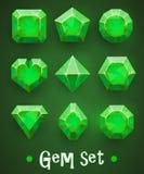 Set realistyczni zieleni klejnoty różnorodni kształty Szmaragdowa kolekcja Elementy dla mobilnych gier lub dekoraci ilustracji