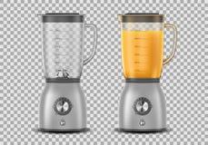 Set Realistyczny Juicer blender Kuchenny blender z sokiem pomarańczowym i opróżnia, pije, 3d melanżer odizolowywającego wektor zdjęcia royalty free