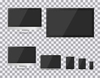 Set realistyczny TV, lcd, monitor, laptop, pastylka i telefon komórkowy z pustym bielu ekranem, prowadzący, komputerowy, Różnorod Obrazy Stock
