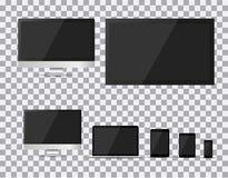 Set realistyczny TV, lcd, monitor, laptop, pastylka i telefon komórkowy z pustym bielu ekranem, prowadzący, komputerowy, Różnorod Fotografia Stock