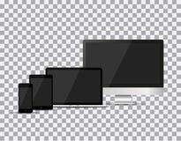 Set realistyczny TV, lcd, monitor, laptop, pastylka i telefon komórkowy z pustym bielu ekranem, prowadzący, komputerowy, Różnorod Obraz Royalty Free