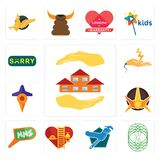 Set of realtor, celtic tree life, plumber, volunteer fire department, mms, nova, travel, electrical contractor, sorry icons. Set Of 13 simple  icons such as Royalty Free Stock Images