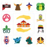 Set of realtor, nova, great dane, plumber, captain america, rastaman, biodegradable, krishna, anarchy icons. Set Of 13 simple  icons such as realtor, nova, great Royalty Free Stock Image