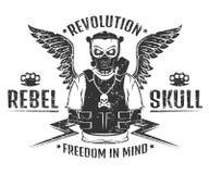 Set of rebel skull and revolution skeleton black and white print for t shirt Stock Photos
