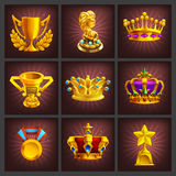 Set of receiving the cartoon golden trophies, medals, award and achievements game screen. Royalty Free Stock Photography