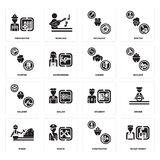 Set of Receptionist, Firefighter, Miner, Student, Soldier, Singer, Painter, Mechanic, Firefighter icons. Set Of 16 simple  icons such as Receptionist Royalty Free Stock Photography