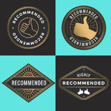 Set of recommended logo, badges, label, tag in golden color. stock illustration