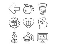 Recruitment, Coffeepot and Romantic gift icons. Left arrow, Surprise gift and Atm money signs. Set of Recruitment, Coffeepot and Romantic gift icons. Left arrow Royalty Free Stock Images