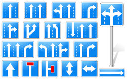 Set of rectangle blue road signs Royalty Free Stock Photo