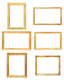 Set of rectangle golden picture frames Royalty Free Stock Photo