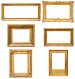 Set of rectangle golden picture frames Stock Image