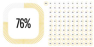 Set of rectangle percentage diagrams from 0 to 100 Royalty Free Stock Image