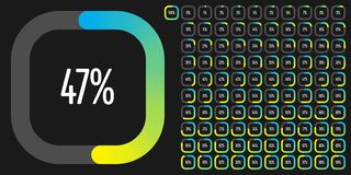 Set of rectangle percentage diagrams from 0 to 100 stock images