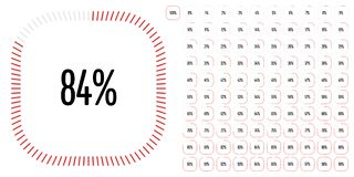 Set of rectangle percentage diagrams from 0 to 100 stock photos