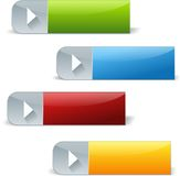 Set of rectangle play shiny buttons. Four colorful rectangle web buttons with play icon and silver elements Stock Image