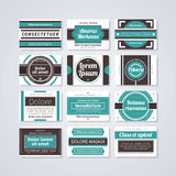 Set of 12 rectangle retro badges on white background. EPS10 vector template stock illustration