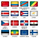 Set of Rectangle World Top States Flags Stock Images