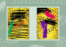 Set of Rectangular Cards with Glittering Golden Texture and Pape Royalty Free Stock Photography