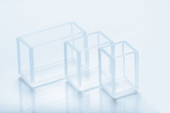 Set of rectangular cuvettes of different capacity Royalty Free Stock Image