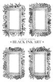 Set of rectangular frames with dotted flowers, birds and plants drawn by hand with black ink. Graphic drawing, pointillism technique. Floral background in royalty free illustration