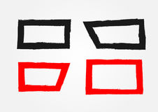 Set of rectangular frames. Painted by hand with a rough brush. Royalty Free Stock Photos