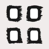 Set of rectangular frames painted rough brush. Four isolated vertical borders. Grunge. Black, white Royalty Free Stock Photo