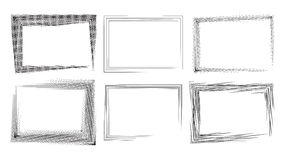 Set of rectangular frames with strokes and engraving. Royalty Free Stock Photo