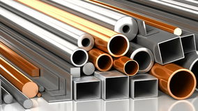 Set of rectangular, round, square steel and copper tubes and different metallic construction materials. Industrial loop animati stock video footage