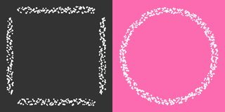 Set of rectangular and round white borders made by many white circles around on grey and pink background. Frame borders collection with white circles Royalty Free Stock Images