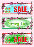 Set of rectangular spring banners. Blooming peach, pink flowers on tree branches. Spring sale Royalty Free Stock Photos