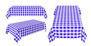 Set of rectangular tablecloth with blue checkered pattern Royalty Free Stock Images