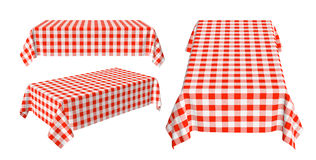 Set of rectangular tablecloth with red checkered pattern. Isolated on white, 3d illustration Stock Photos