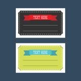 Set of rectangular tags with ribbons Stock Photos