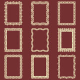 Set of rectangular vintage frames  background. Vector design elements that can be cut with a laser. A set of frames made o Royalty Free Stock Images