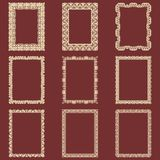 Set of rectangular vintage frames isolated background. Vector design elements that can be cut with a laser. A set of frames made o. F decorative lace borders Stock Photo
