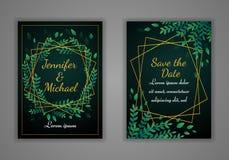 Set of rectangular wedding invitation cards. Green leaves and golden frame. royalty free illustration