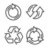 Set of recycle arrow thin line icon Stock Photo