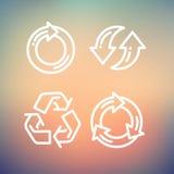 Set of recycle arrow thin line icon Stock Photo