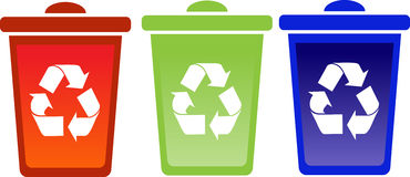 Set of recycle bins Royalty Free Stock Images