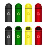 Set of recycle bins for trash or garbage. Vector icons.  Royalty Free Stock Photos