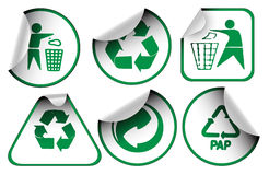 Set of recycle labels Royalty Free Stock Image