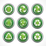 Set of recycle symbols and icons.  Royalty Free Stock Photos