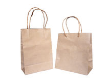 Set of recycled brown shopping bags isolated Royalty Free Stock Image