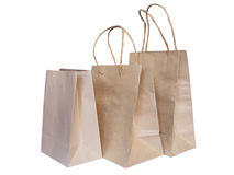 Set of recycled brown shopping bags isolated Stock Photos