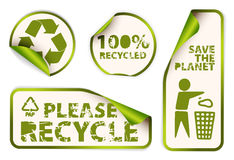 Set of recycled labels badges and stickers Stock Photos