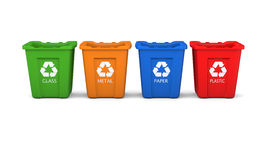 Set of recycling bins Stock Photo