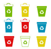 Set of recycling bins Royalty Free Stock Photos